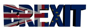 40185323 - brexit text with british and eu flags illustration