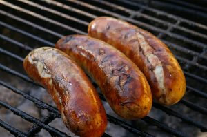 sausages on barbecue