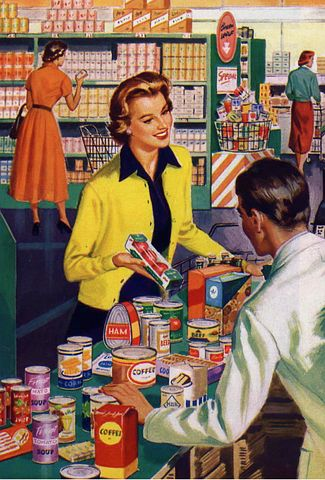 woman looking at at food labelling